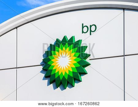 MOSCOW RUSSIA - JULY 30 2016: BP - British Petroleum petrol station logo over blue sky. British Petroleum is a British multinational oil and gas company