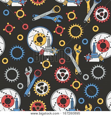 Seamless vector pattern with mechanical components and parts, cogs, screws and keys
