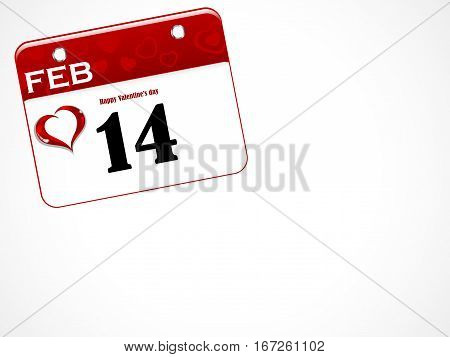 Calendar with 14 February date with hearts