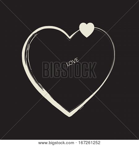 Heart Love poster. Futuristic style. Heart logo and word LOVE isolated on black background. Romantic Holiday card decoration. Heart vetor illustration decorative element for Valentines Day, Mothers Day, Birthday, Advertising, Fabric Print, Home decor.