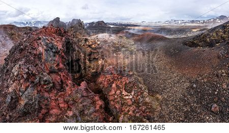 Lavas field in the geothermal valley Leirhnjukur, near Krafla volcano, Iceland, Europe.