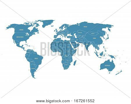 Political vector World Map with state name labels. Blue land with gray text on white background. Hand drawn simplified illustration.