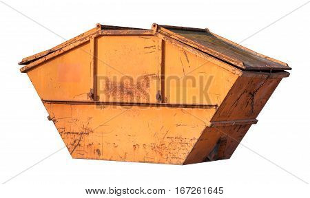Orange trash container with heavy scratches isolated