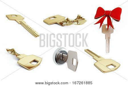 key set on a white background 3D illustration