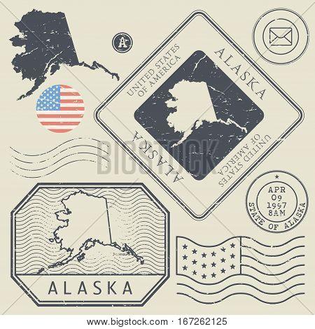 Retro vintage postage stamps set Alaska United States theme vector illustration