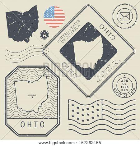 Retro vintage postage stamps set Ohio United States theme vector illustration