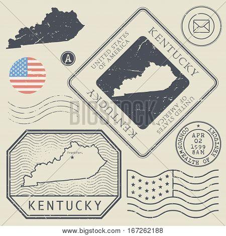 Retro vintage postage stamps set Kentucky United States theme vector illustration