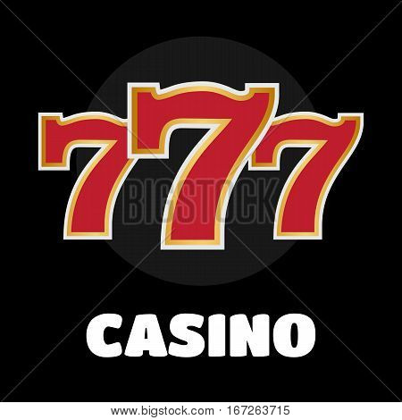 Slot machine symbols on black background. Lucky seven