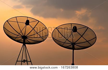 two satellite dishes for communication network on the top of tower