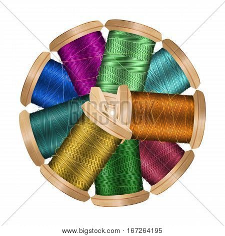 Thread Spool Banner Circle Border. Place For Text. Stock Vector Illustration Of Yarn Or Cotton Bobbin Reel. Isolated On White Background