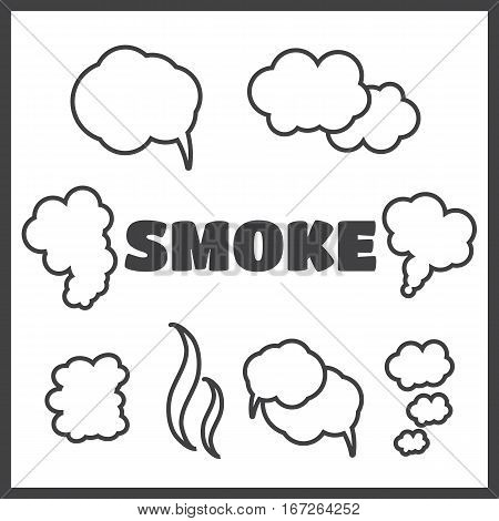 Steam cloud and smoke vector icons set. Cloud abstract shape flow smoke cloud