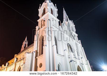 Church in Boleslaw by night in Boleslaw in Poland