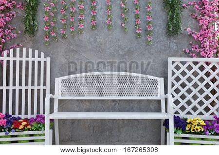 Painted Steel Of White Armchair With Flower Decoration