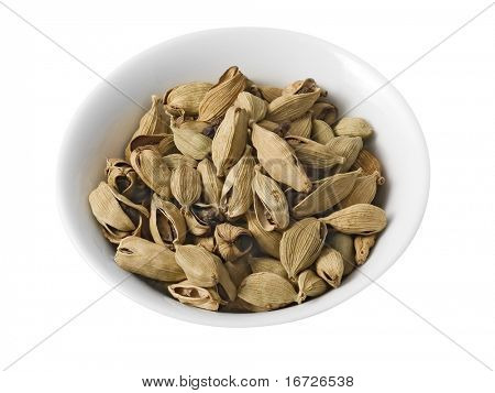Dry cardamom (isolated with path).