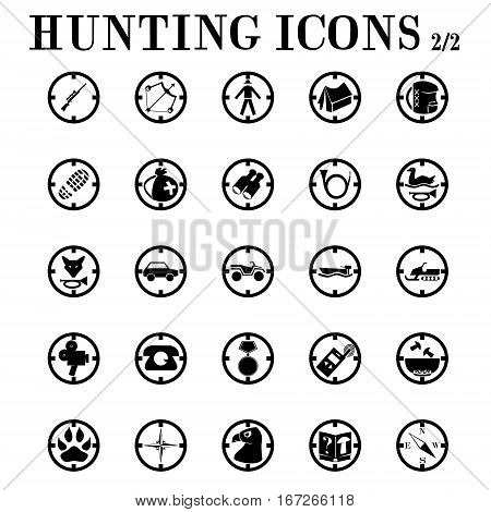 Hunting icons on the theme of hunting, weapons, equipment, vehicles, animals, mushroom picking.