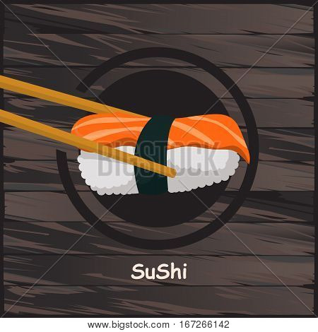 chopsticks holding sushi roll. concept of snack susi exotic nutrition sushi restaurant sea food