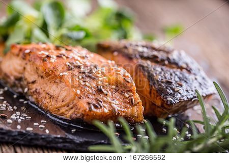 Salmon fillets. Grilled salmon sesame seeds herb decorationon on vintage pan or black slate board. fish roasted on an old wooden table.Studio shot.