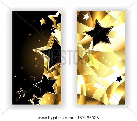 Two banners with gold stars and golden texture. Design with gold stars.
