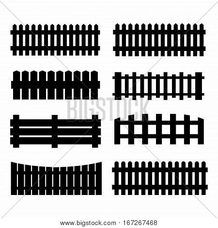 set of black fences isolated over white background silhouette wooden fence set