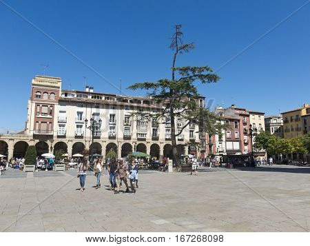 LOGRONO SPAIN - SEPTEMBER 6 2015: Market square in Logrono Spain. Way of Saint James by Logrono as it passes through Market square La Rioja Spain