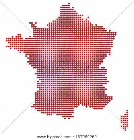 The Map Of France. Silhouette of France is made of small red hearts. Original abstract vector illustration for your design.