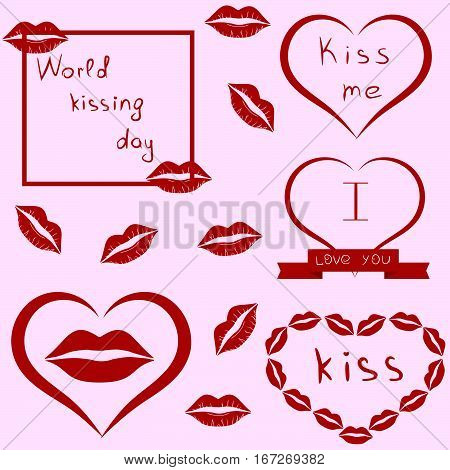 World kissing day. Clip-art. Set of lips, kiss, heart and ribbon. Pink background. Vector illustration.