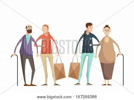 Volunteering design concept with young men helping elderly people outdoor flat cartoon vector illustration