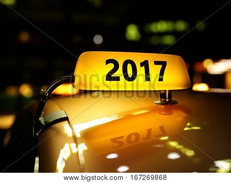 Yellow Taxi Sign 2017 Year At Night