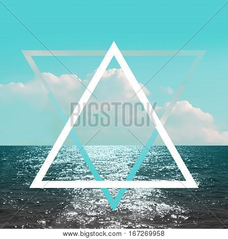 Abstract blue sea and cloud triangle geometric concept poster