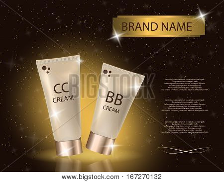 Glamorous CC and BB cream packages on the sparkling effects background. Mockup 3D Realistic Vector illustration for design template