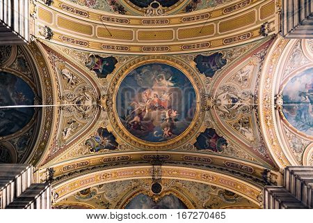 Brixen Italy - December 26 2016: Painting decorated ceiling of the cathedral.