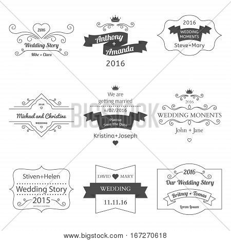Set of Wedding Labels and Insignias Vector illustration