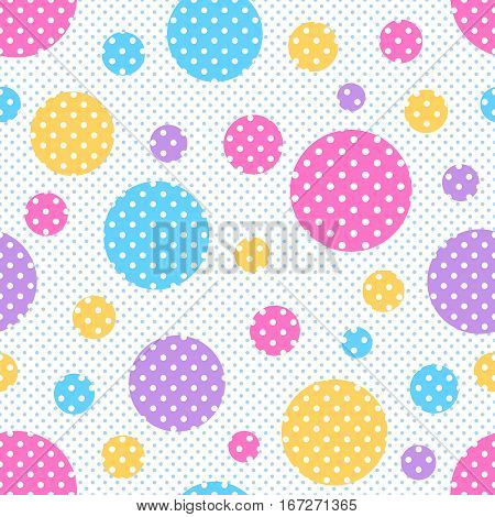 Seamless geometric pattern with colored circles with white polka dots on a background of polka dots. Vector illustration.