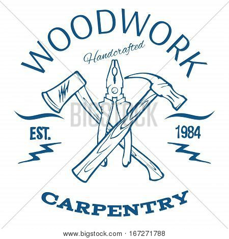 Woodwork and Carpentry Design T-shirt Print Vector Illustration