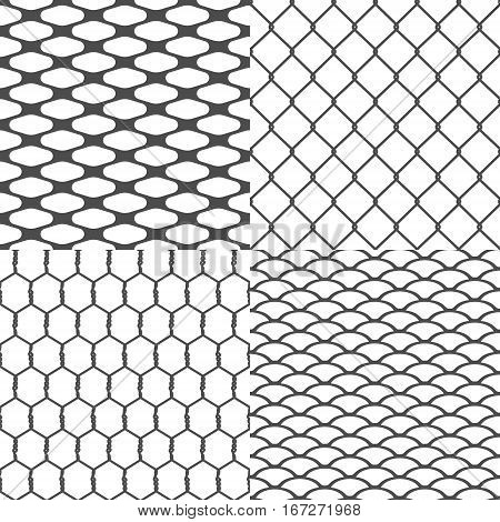Set of Wires Seamless Backgrounds Vector illustration