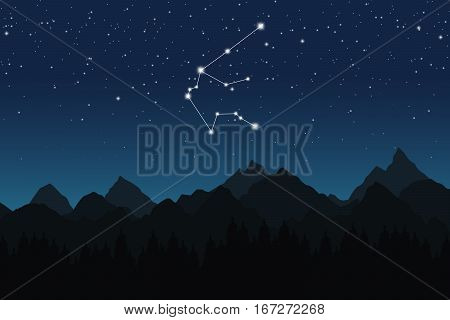 Vector illustration of Aquarius constellation on the background of starry sky and night mountain