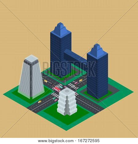 Isometric street with high tower buildings crossroads traffic light and cars