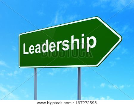 Finance concept: Leadership on green road highway sign, clear blue sky background, 3D rendering
