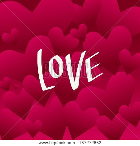 vector lettering on the day of St. valentine with love. Designed to complement your postcards and illustrations