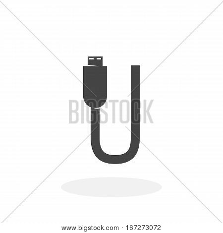 USB cable icon isolated on white background. USB cable vector logo. Flat design style. Modern vector pictogram for web graphics - stock vector