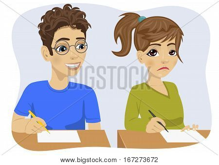 young teenager nerd boy with glasses copying his classmate girl on exam