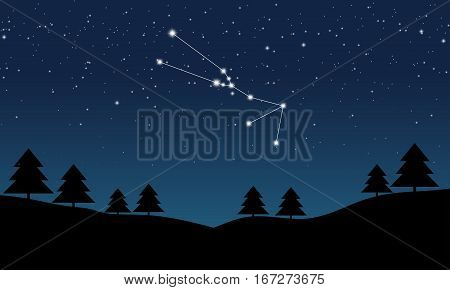 Vector illustration of Taurus constellation on the background of starry sky and night landscape