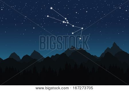Vector illustration of Taurus constellation on the background of starry sky and night mountain