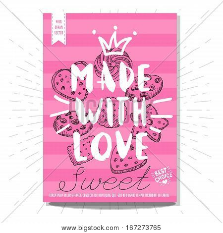 Set colorful sweet labels. Made with love, biscuits, sweet, yummy, dessert, crown, heart, best choice. Retro background. Sketch style, posters, hand drawn vector.
