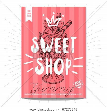Set colorful sweet labels. Sweet shop, yummy, dessert, crown, heart, best choice. Retro background. Sketch style, posters, hand drawn vector.