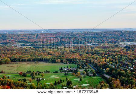 Wausau and Rib Mountain Wisconsin area in autumn.