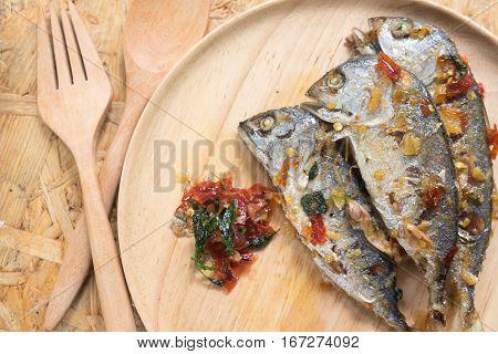 Mackerel serve with sauce in Thai menu food