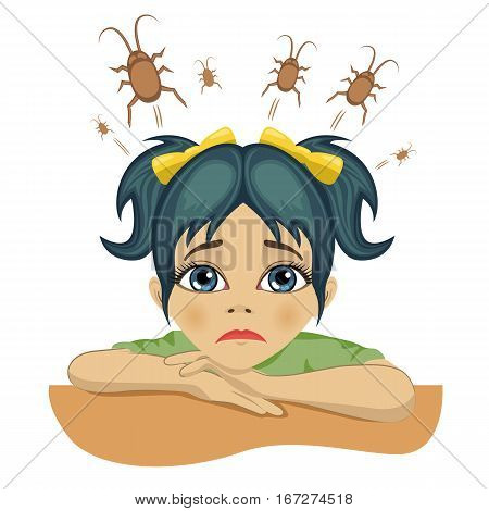 sad little girl with cockroaches in her head over white background