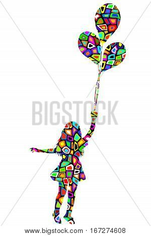 Girl with balloons in colorful pattern texture on white background