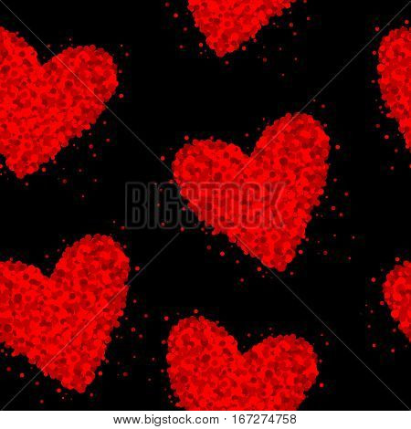 Seamless black background with red hearts made of dots